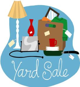 yard sale with stuff sign